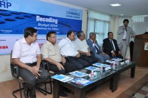 Decoding Budget Noida event.  From L to R Mr Raj K Pathak, Mr PC Sabharwal, Mr MK Srivastava, Mr Madan Mohan, Mr NK Gupta, Mr KK Tulshan and Mr Faiz Askari