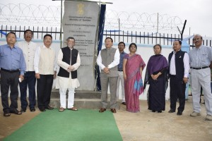 Minister of State for Textiles, Santosh Kumar,C.M,  Nagaland T.R Zeliang, Legislators and others after unveiling the monolith  of   Apparel and Garment Making Centre on 5th April 2016 at 6th mile  Dimapur(