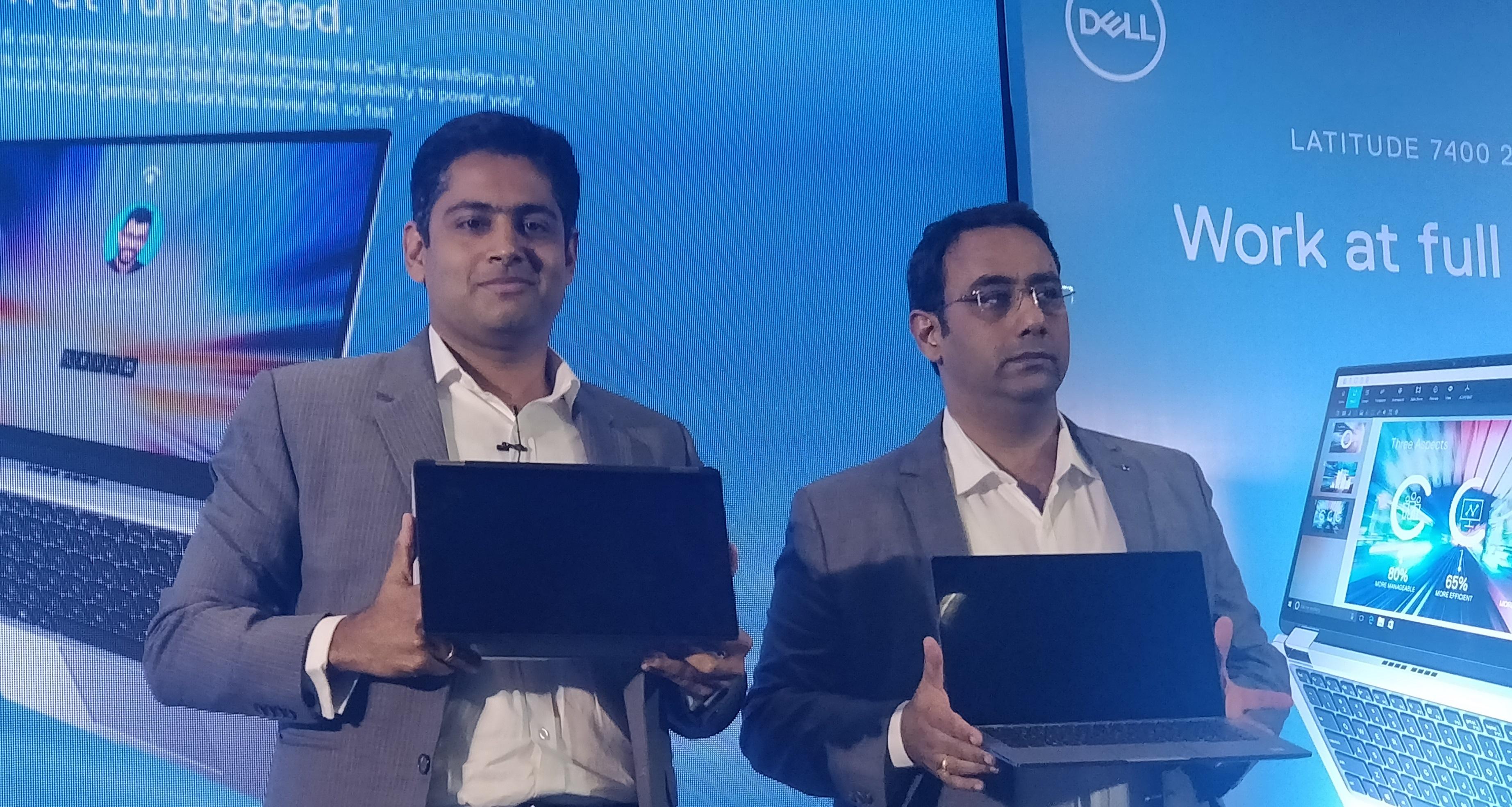 Vivekanand Manjeri and Indrajit Belgundi launcing Dell latitude 7400 2-in-1 in India