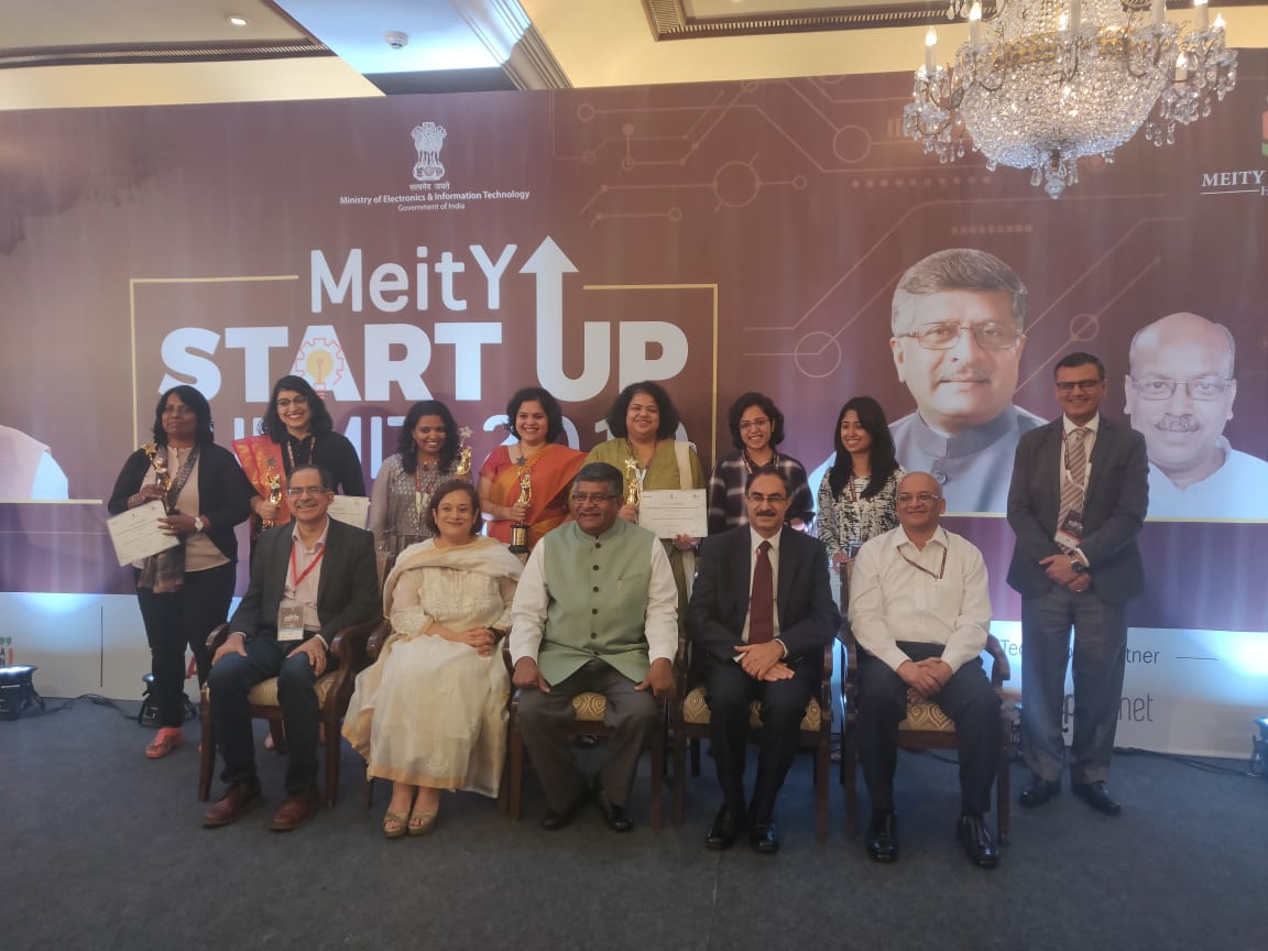 Mabel Chacko with other winners of MeitY NASSCOM Women Entrepreneur Awards