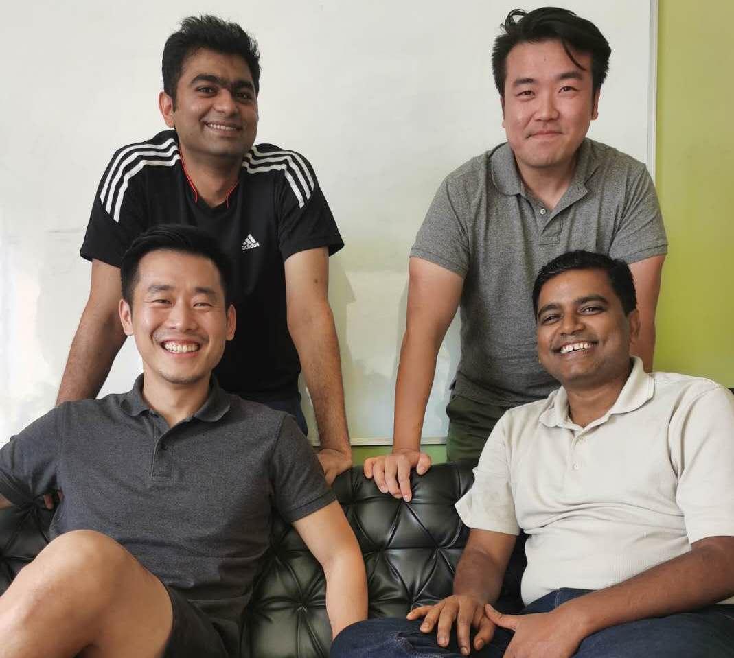 Amit, Back row right Bo, Front row left Pei, Front row right Sunil