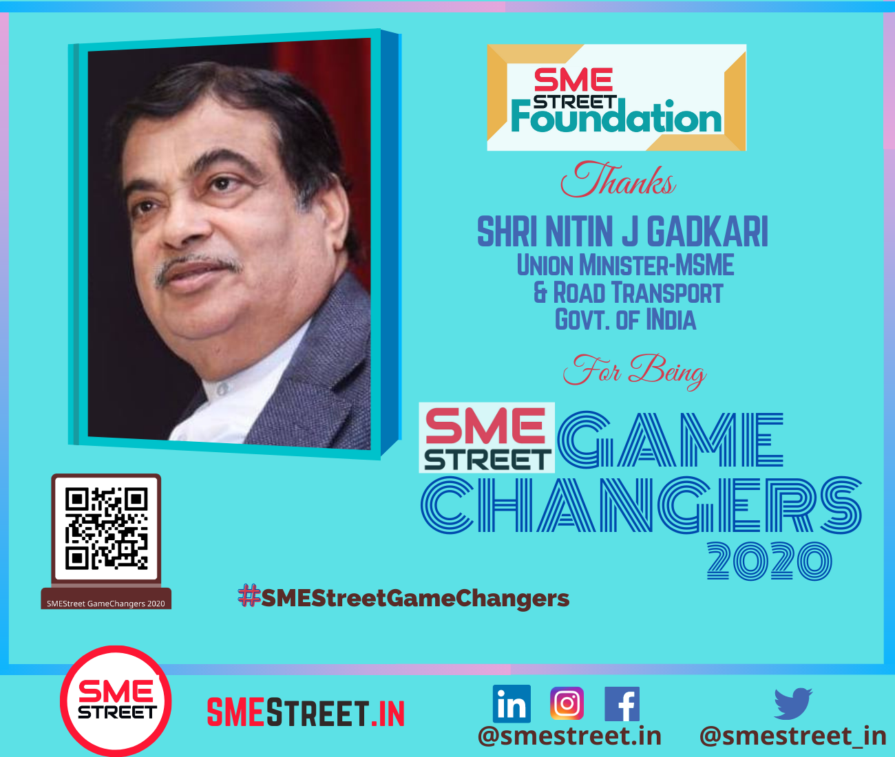 Nitin Gadkari as the SMEStreet GameChanger 2020