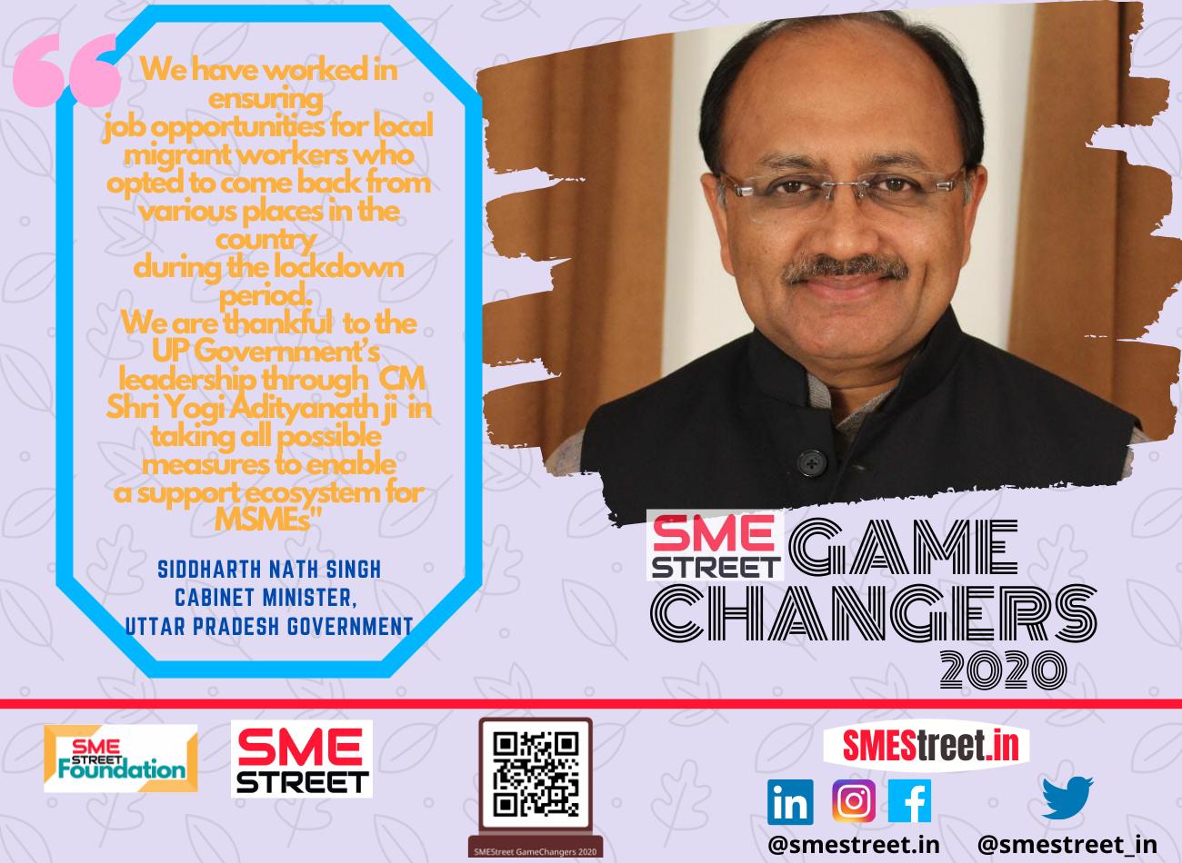 Meet Siddharth Nath Singh MSME Minister of UP Govt as SMEStreet GameChanger