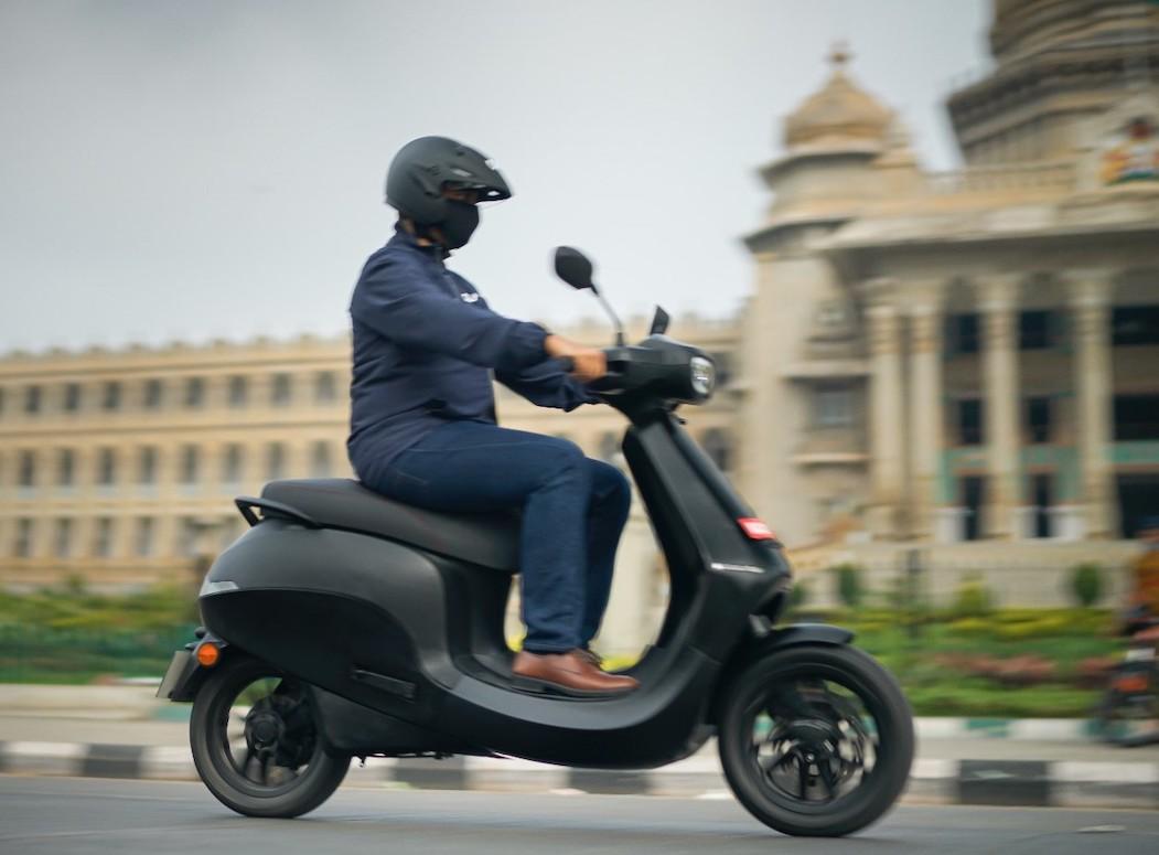 Ola Electric Bhavish Aggarwal on Ola Scooter zipping past Vidhana Sou...